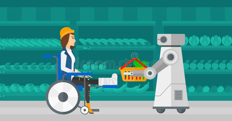 Robotachtige helper die in supermarkt werken stock illustratie