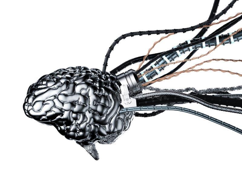 Robotachtige hersenen met draden vector illustratie
