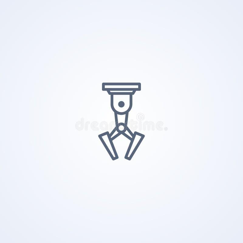 Robotachtige klauw, vector beste grijs lijnpictogram stock illustratie