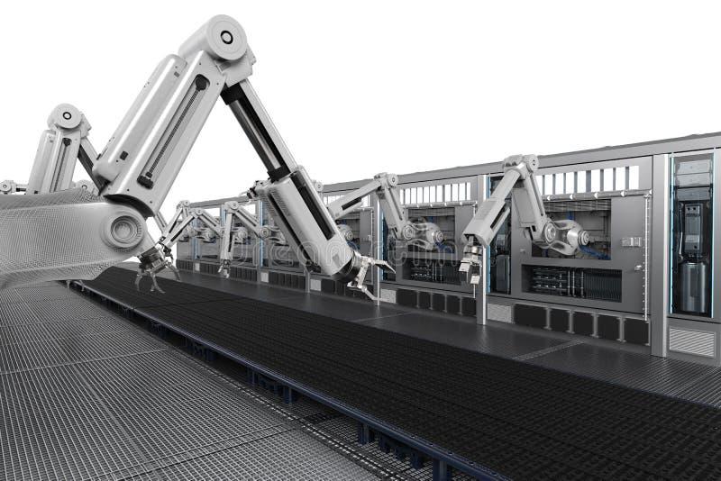 Robotachtige machines met transportbandlijn stock illustratie
