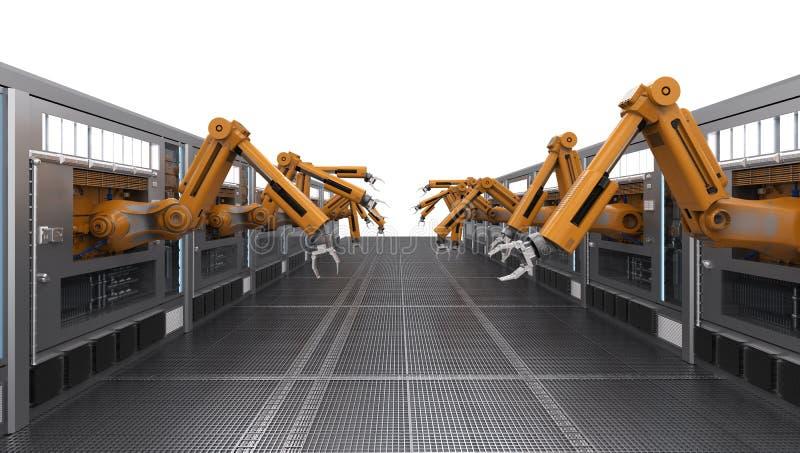 Robotachtige machines met transportbandlijn royalty-vrije illustratie