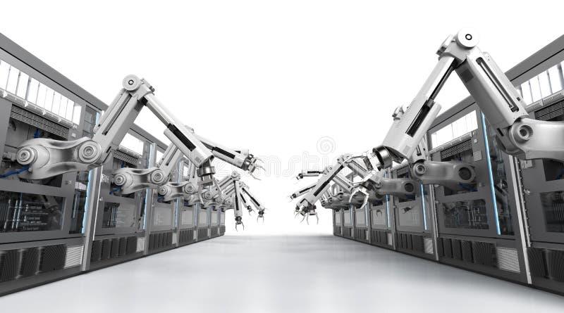 Robotachtige machines met transportbandlijn royalty-vrije stock afbeelding