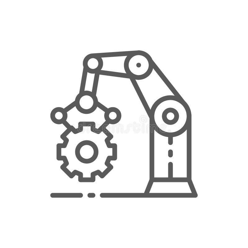 Robotachtige manipulatorwapen met tandrad, werkend mechanisme, productielijnpictogram vector illustratie