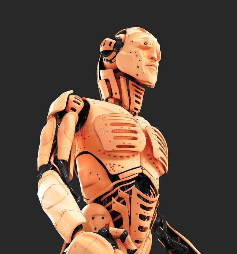 Robotachtige mens met menselijke huid stock illustratie
