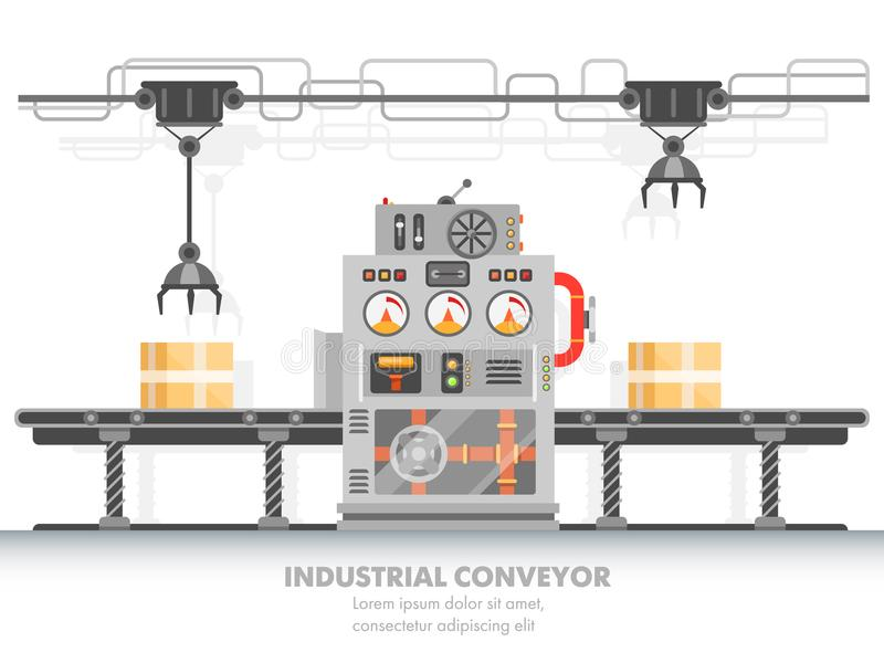 Robotachtige transportband of slimme fabrieks horizontale riem stock illustratie