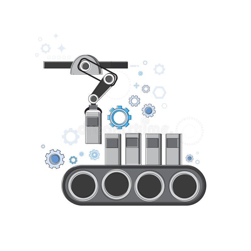 Robotachtige van de de Industrieproductie van de Lopende band Industriële Automatisering het Webbanner royalty-vrije illustratie