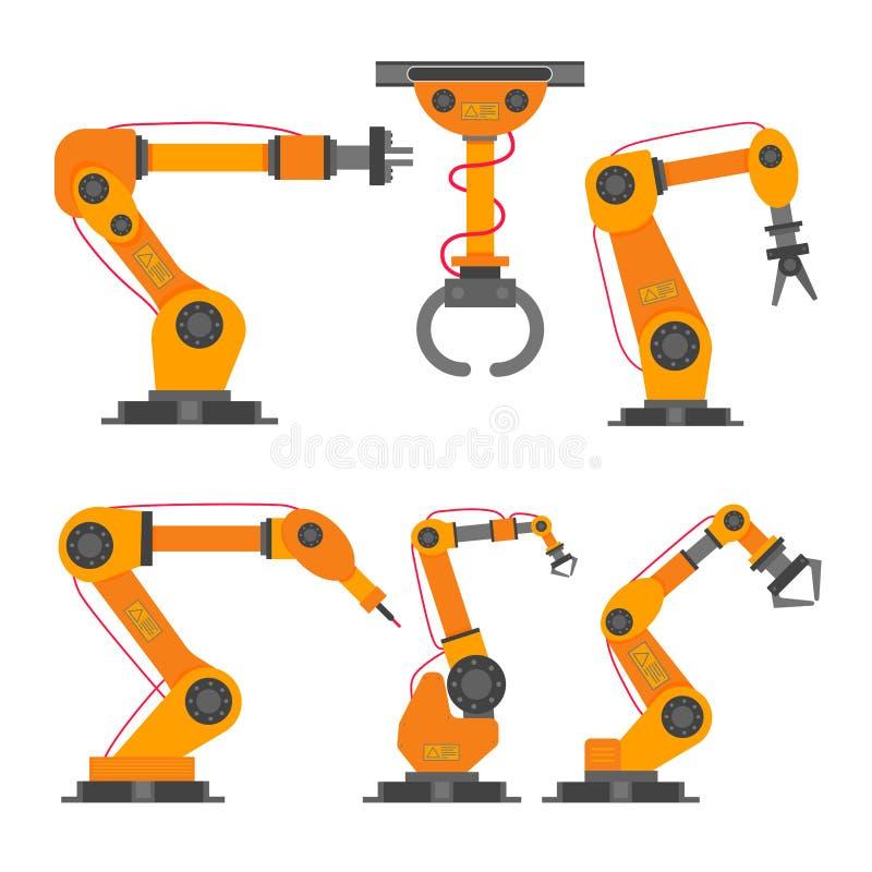6 robotachtige van de het ontwerp vectorillustratie van de wapen vlakke stijl de pictogrammentekens geplaatst die inzameling op w stock illustratie