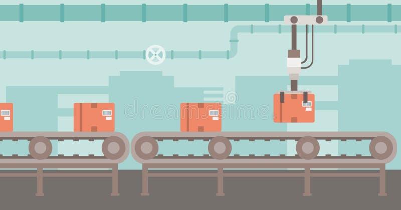 Robotachtige verpakkende transportband vector illustratie