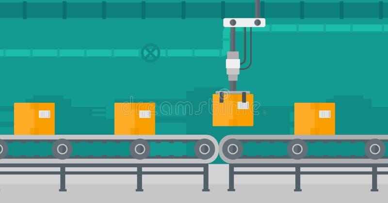 Robotachtige verpakkende transportband stock illustratie