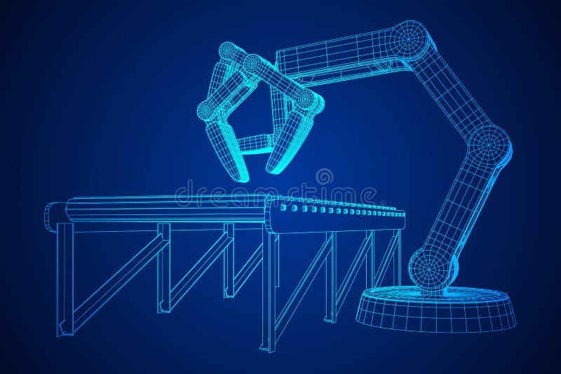 Robotachtige wapen en roltransportbandvector vector illustratie