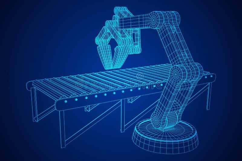 Robotachtige wapen en roltransportbandvector royalty-vrije illustratie