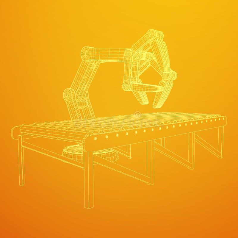 Robotachtige wapen en roltransportbandvector stock illustratie
