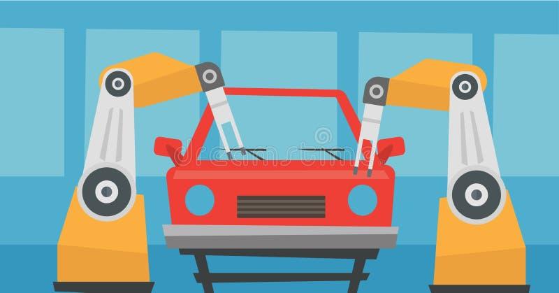 Robotachtige wapen het assembleren auto in montagewerkplaats stock illustratie