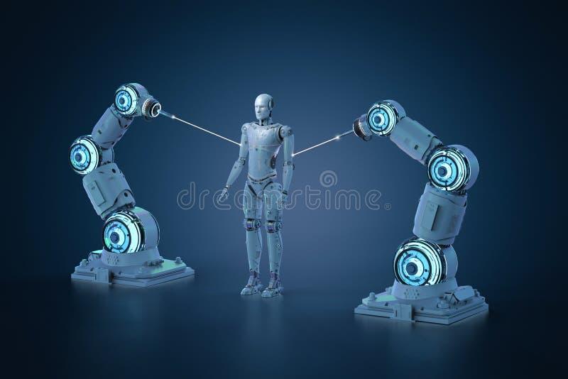 Robotachtige wapenassemblage royalty-vrije illustratie
