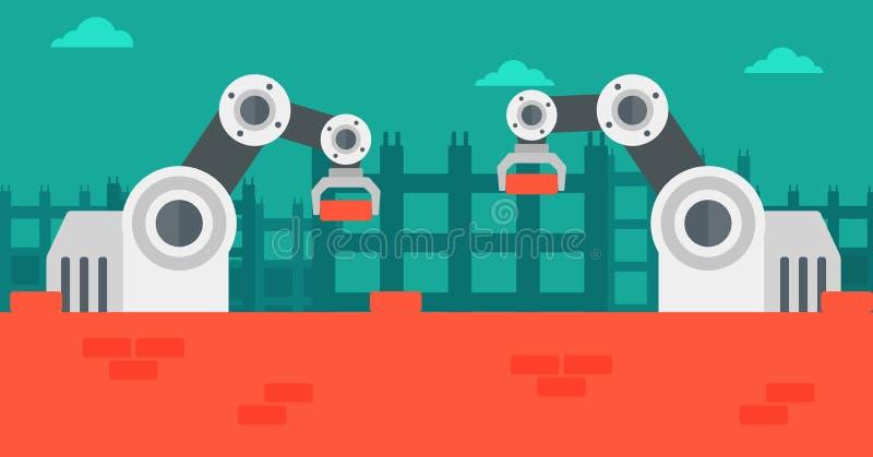 Robotachtige wapens die aan de bouwwerf werken stock illustratie