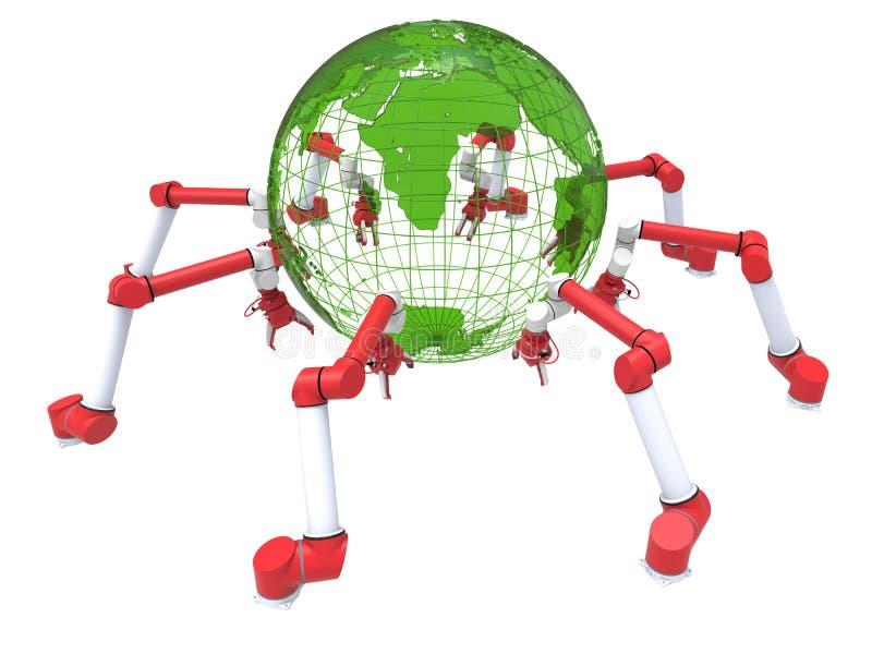 Robotachtige wapens - groene bol productie stock illustratie