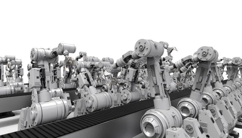 Robotachtige wapens met lege transportband stock illustratie