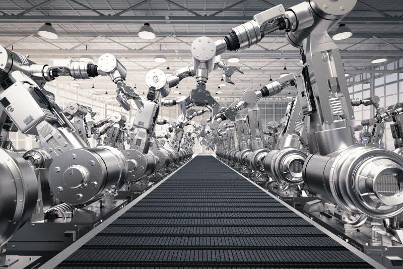 Robotachtige wapens met lege transportband royalty-vrije illustratie