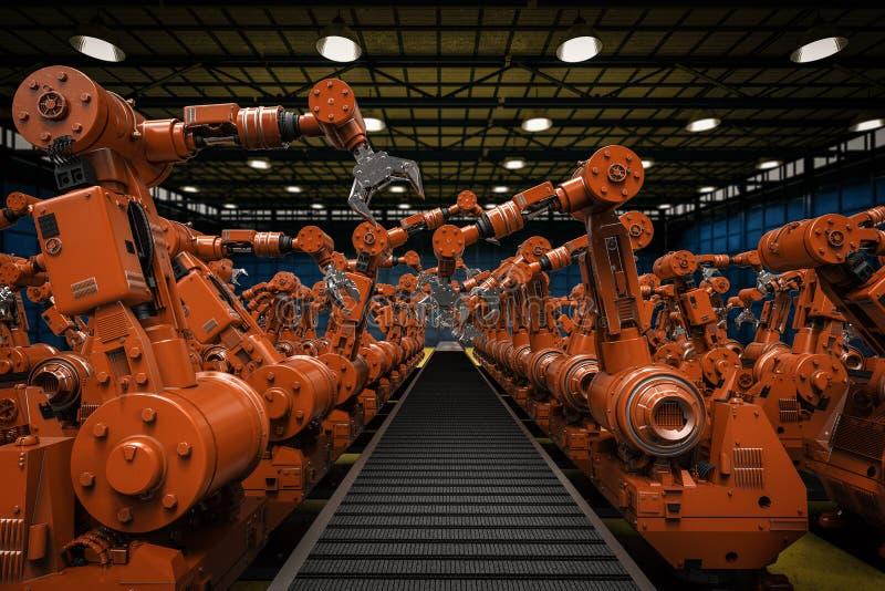 Robotachtige wapens met lege transportband vector illustratie