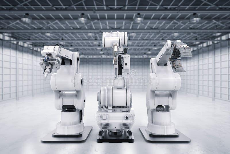 Robotachtige wapens op een rij stock illustratie