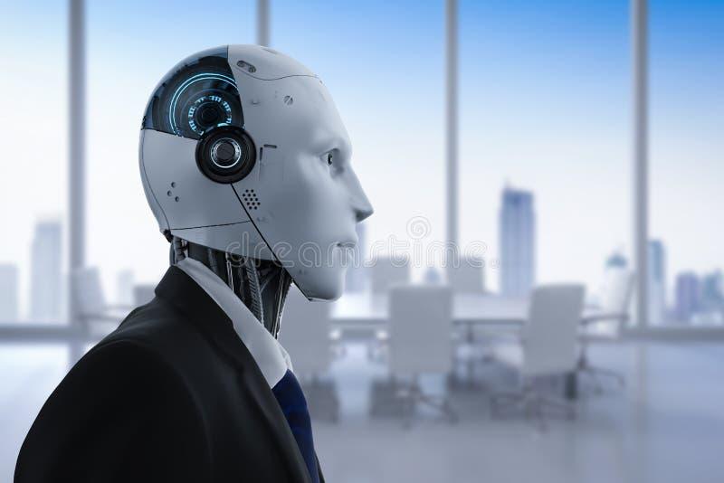 Robotachtige zakenman in bureau stock afbeeldingen