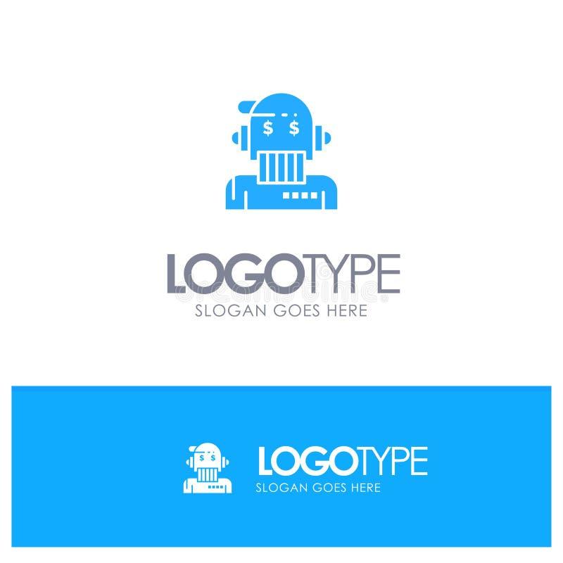 Robotadviseur, Adviseur, Adviseur, Algoritme, Analist Blue Solid Logo met plaats voor tagline royalty-vrije illustratie