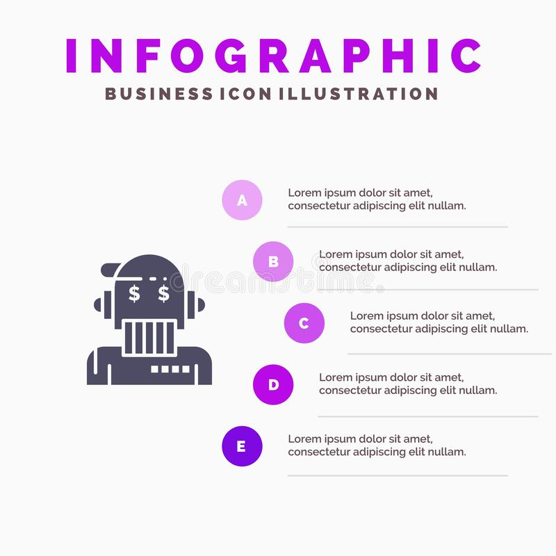 Robotadviseur, Adviseur, Adviseur, Algoritme, Analist Solid Icon Infographics 5 de Achtergrond van de Stappenpresentatie vector illustratie