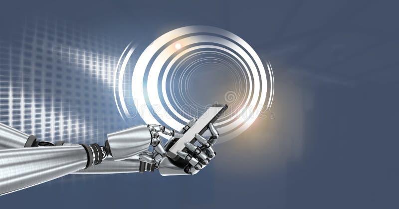 Robotandroidhand med telefonen och den glödande cirkelteknologimanöverenheten royaltyfri illustrationer