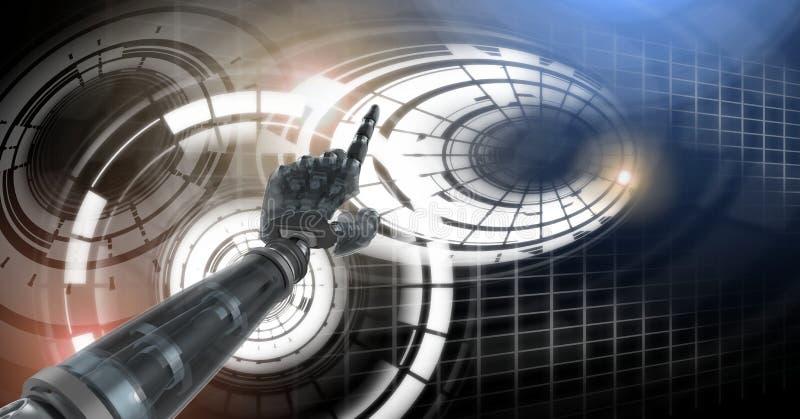 Robotandroidhand och glödande cirkelteknologimanöverenhet royaltyfri illustrationer