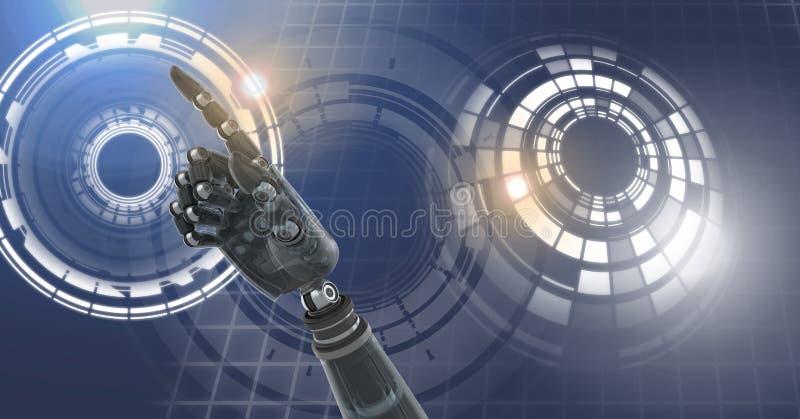 Robotandroidhand och glödande cirkelteknologimanöverenhet stock illustrationer