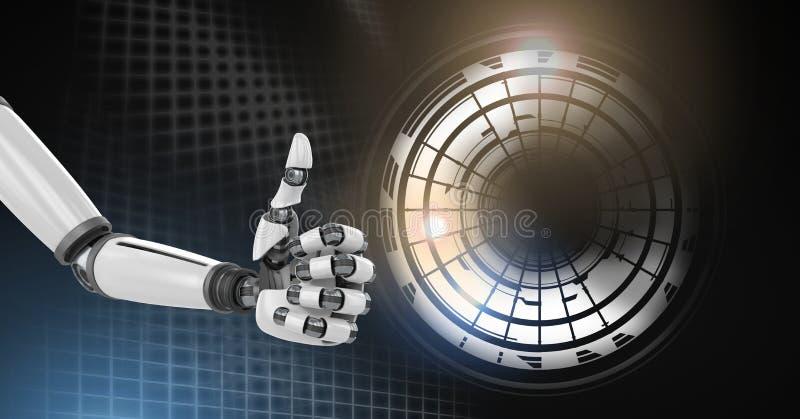 Robotandroidhand som ger upp tummar med den glödande cirkelteknologimanöverenheten royaltyfri illustrationer