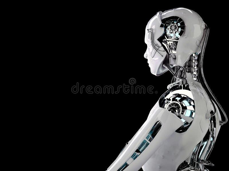 Robotandroidmän royaltyfri illustrationer