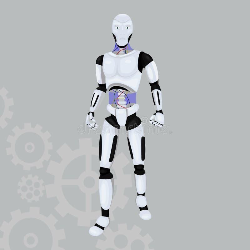 Robotandroidsymbol på en grå bakgrund Illustration för konstgjord intelligens som isoleras på grå färger Realistisk Android maski royaltyfri illustrationer