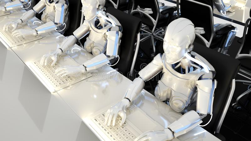 Robotar av det framtida arbetet i kontor på datorer framförande 3d vektor illustrationer