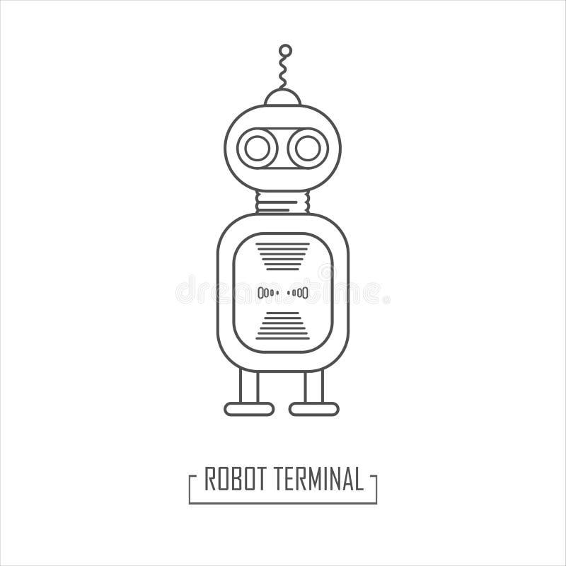 Robotar av framtiden Vektorillustration av en robotterminal stock illustrationer