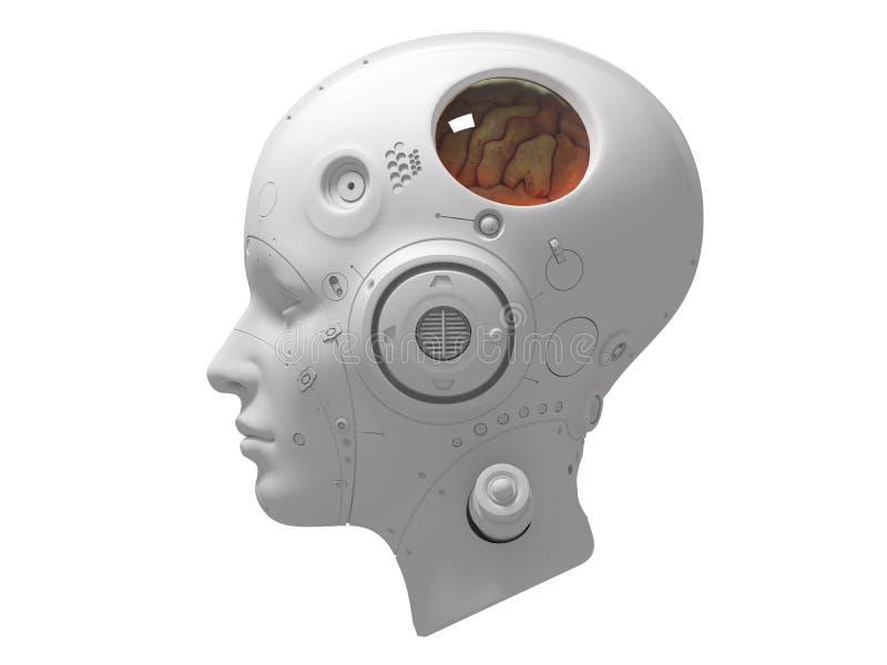 Robotar 3d för fi för teknologirobotsaien framför royaltyfri illustrationer