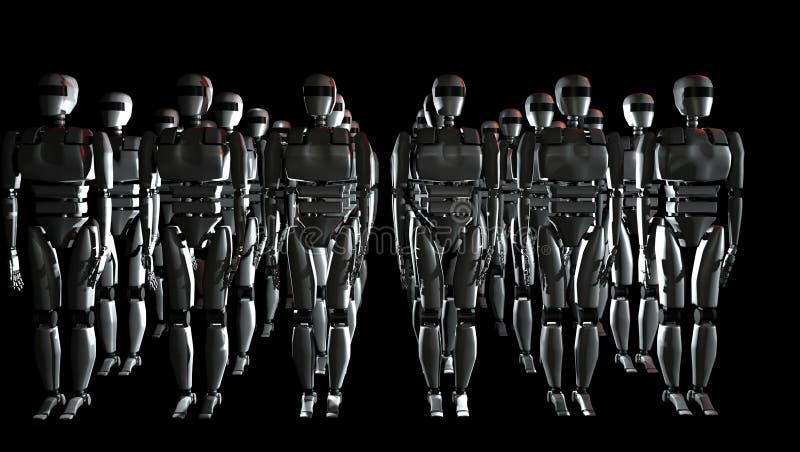 Robotar i raden illustration 3d vektor illustrationer