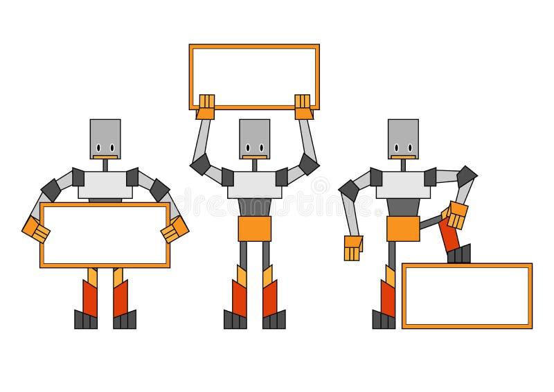 Robotar med plakatet vektor illustrationer