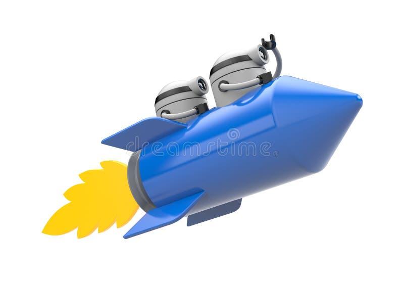 Robotar som flyger på raket royaltyfri illustrationer