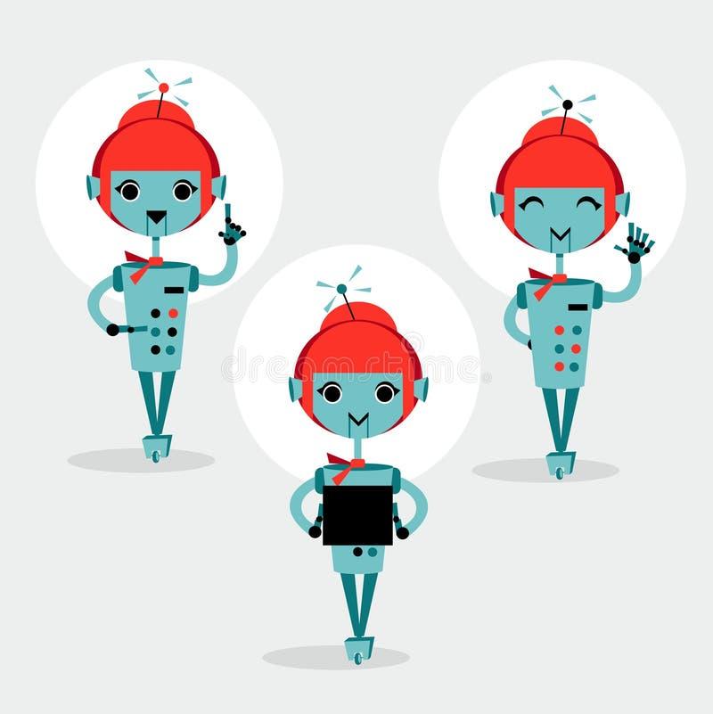 Robotar som meddelar, vektor stock illustrationer