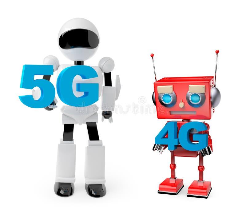 Robotar som rymmer symbolet 5G och 4G stock illustrationer