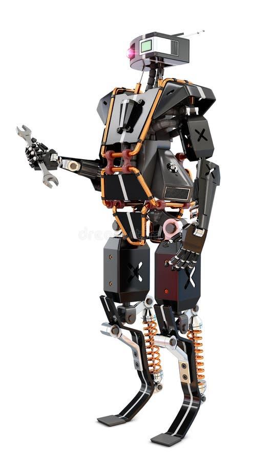 Robotarbetare med hjälpmedel stock illustrationer