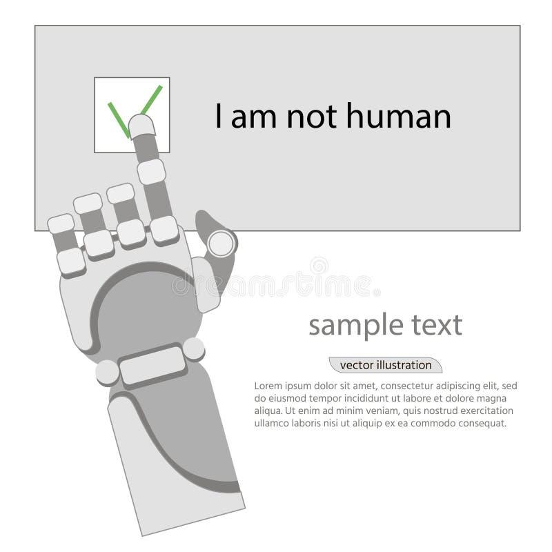 Robotarm, captcha, nerv- nätverk, vit bakgrund stock illustrationer