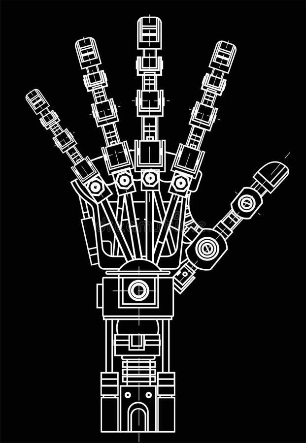 Robotarm Denna vektorillustration används som en illustration av robotteknikidéer, konstgjord intelligens som är bionisk stock illustrationer