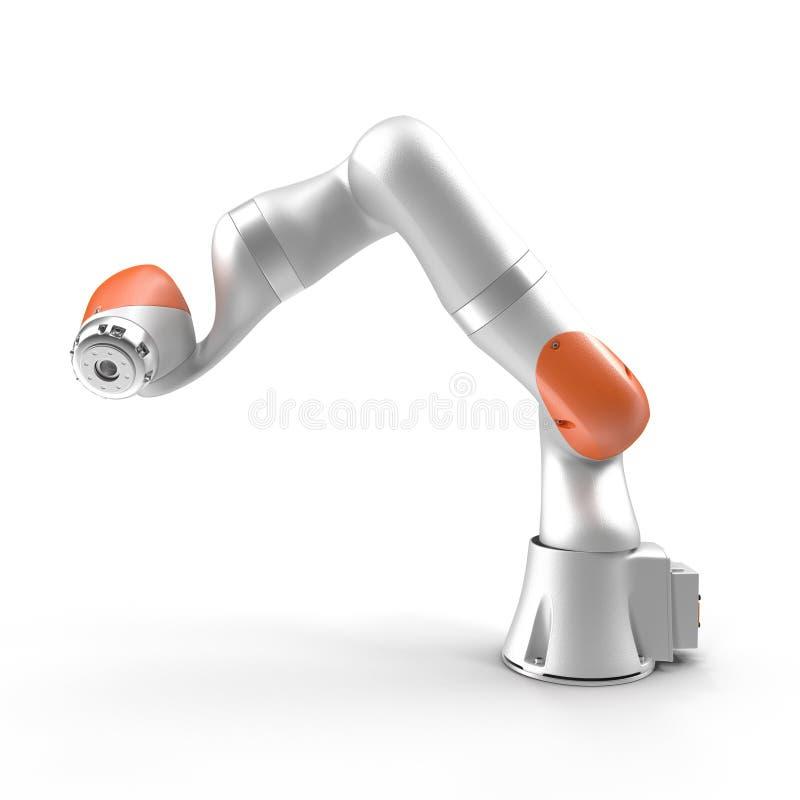 Robotarm för bransch som isoleras på den vita illustrationen 3D stock illustrationer