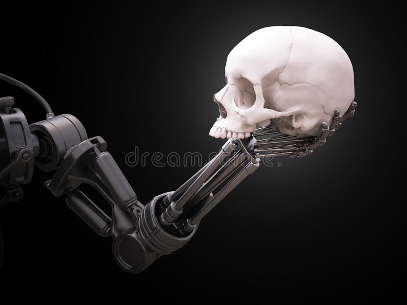 Robotarm med en mänsklig skalle arkivfoto