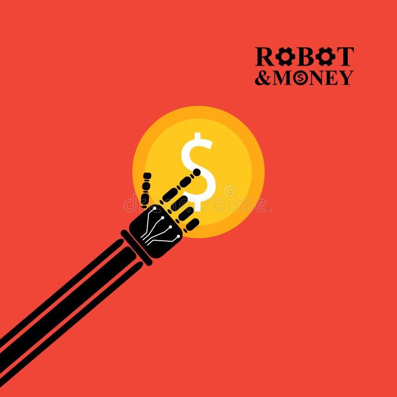 Download Robotarm Med Pengarillustrationen Stock Illustrationer - Illustration av affär, mekaniskt: 76700828