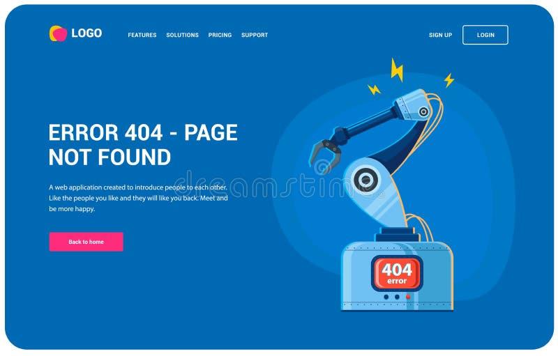Robotarmfel 404 vektor illustrationer