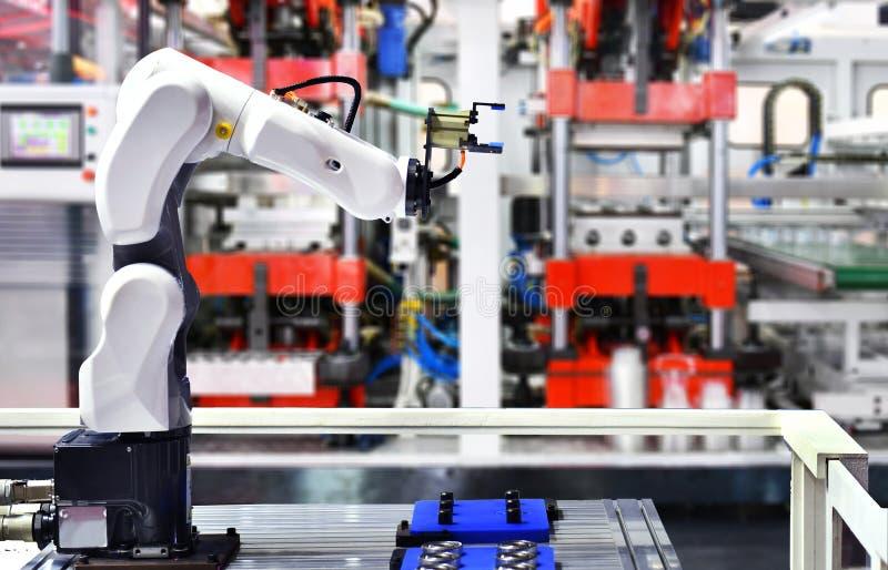 Robotarmmaskin för automatisk lagerinpackning vektor illustrationer