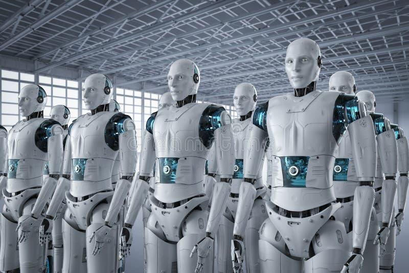 Robotassemblage op een rij vector illustratie